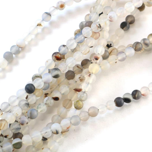 natural agate, 4mm, round, matte, 1 strand, 16 inches, approx. 96 beads.-Gemstone Beads-BeadsVenture