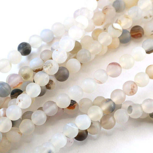natural agate, 6mm, round, matte, 1 strand, 16 inches, approx. 66 beads.-Gemstone Beads-BeadsVenture