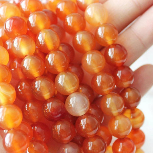 orange carnelian, 10mm, round, glossy, 1 strand, 16 inches, approx. 40 beads.-Gemstone Beads-BeadsVenture