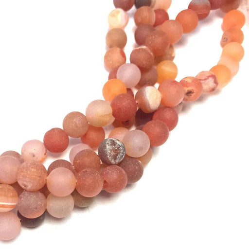 orange druzy agate, 8mm, round, matte, 1 strand, 16 inches, approx. 48 beads.-Gemstone Beads-BeadsVenture