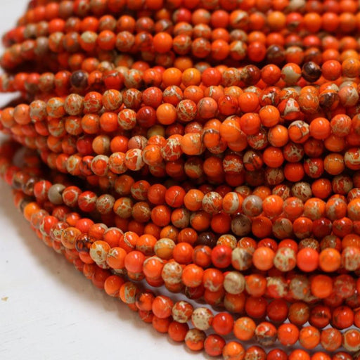 orange impression jasper, 4mm, round, glossy, 1 strand, 16 inches, approx. 96 beads.-Gemstone Beads-BeadsVenture