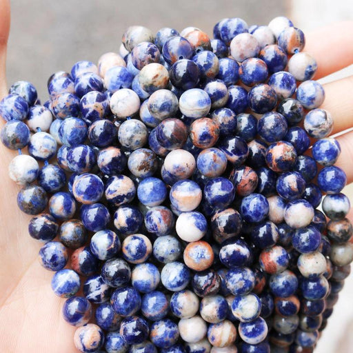 orange sodalite, 8mm, round, glossy, 1 strand, 16 inches, approx. 48 beads.-Gemstone Beads-BeadsVenture
