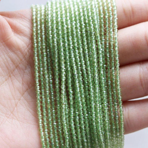 peridot, 2mm, round, faceted, 1 strand, 16 inches, approx. 192 beads.-Gemstone Beads-BeadsVenture