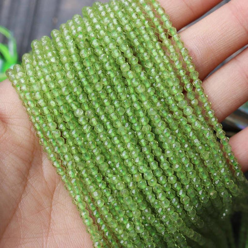 peridot, 3mm, round, faceted, 1 strand, 16 inches, approx. 110 beads.-Gemstone Beads-BeadsVenture