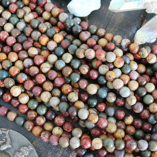 Picasso jasper, 8mm, round, faceted, 1 strand, 16 inches, approx. 48 beads.-Gemstone Beads-BeadsVenture