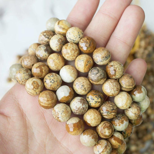 picture jasper, 10mm, round, faceted, 1 strand, 16 inches, approx. 40 beads.-Gemstone Beads-BeadsVenture