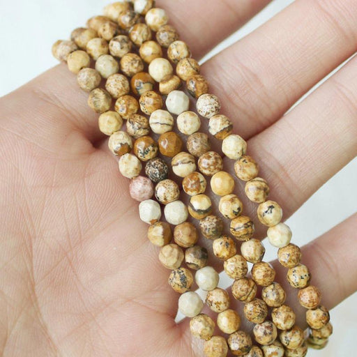 picture jasper, 4mm, round, faceted, 1 strand, 16 inches, approx. 96 beads.-Gemstone Beads-BeadsVenture