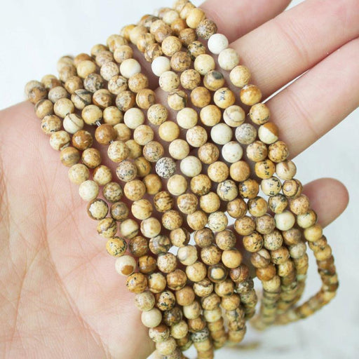 picture jasper, 4mm, round, glossy, 1 strand, 16 inches, approx. 96 beads.-Gemstone Beads-BeadsVenture