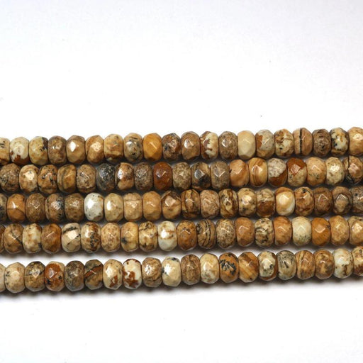 picture jasper, 4mm x 6mm, faceted, rondelle, glossy, 1 strand, 16 inches, approx. 100beads.-Gemstone Beads-BeadsVenture