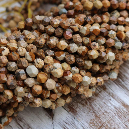 picture jasper, 5mm x 6mm, diamond, faceted, 1 strand, 16 inches, approx. 66 beads.-Gemstone Beads-BeadsVenture