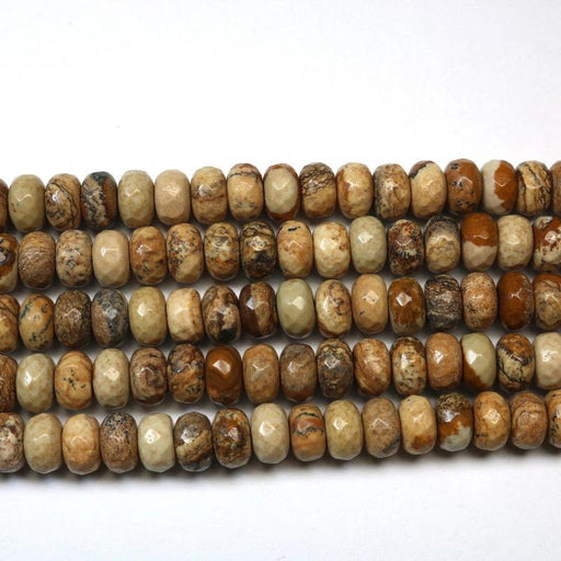 picture jasper, 5mm x 8mm, rondelle, faceted, 1 strand, 16 inches, approx. 72 beads.-Gemstone Beads-BeadsVenture