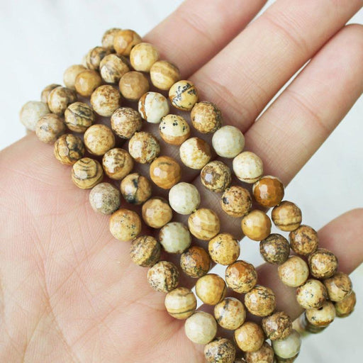 picture jasper, 6mm, round, faceted, 1 strand, 16 inches, approx. 66 beads.-Gemstone Beads-BeadsVenture