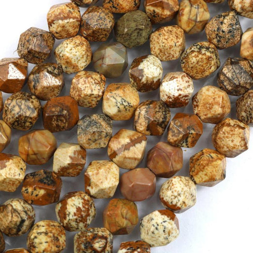 picture jasper, 8mm, diamond, faceted, 1 strand, 16 inches, approx. 48 beads.-Gemstone Beads-BeadsVenture