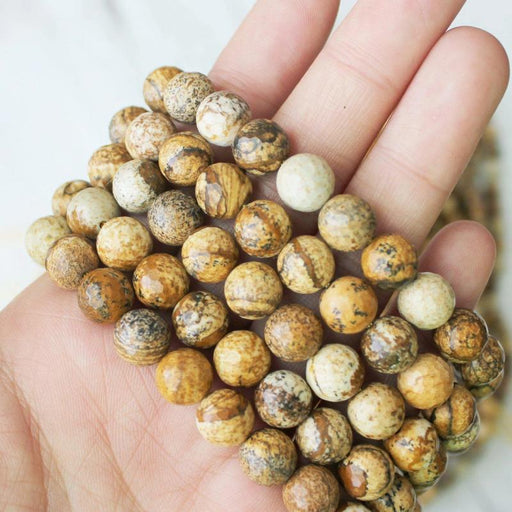 picture jasper, 8mm, round, faceted, 1 strand, 16 inches, approx. 48 beads.-Gemstone Beads-BeadsVenture