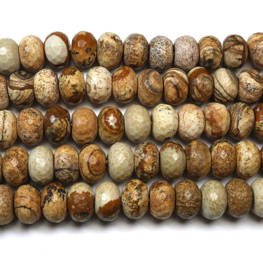 picture jasper, 8mm x 12mm, rondelle, faceted, 1 strand, 16 inches, approx. 48 beads.-Gemstone Beads-BeadsVenture