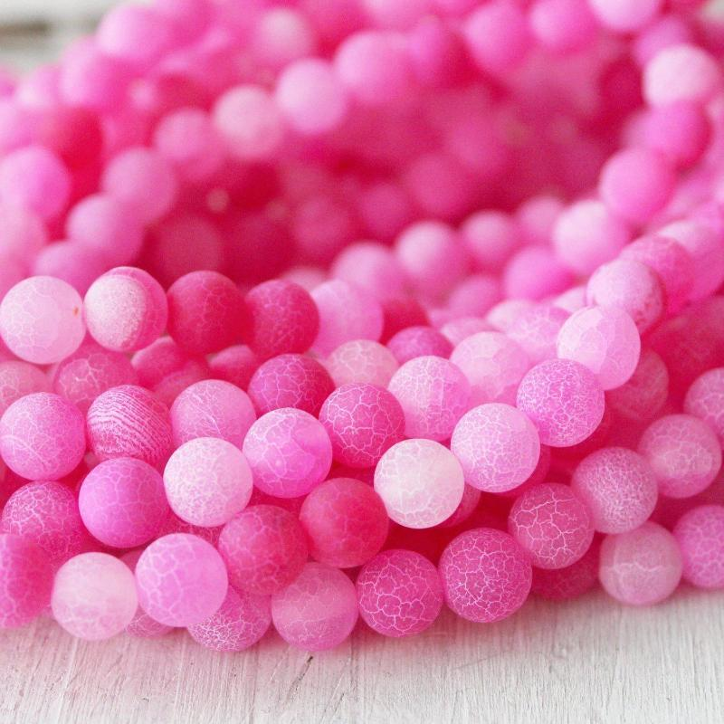 pink crackle agate, 6mm, round, matte, 1 strand, 16 inches, approx. 66 beads.-Gemstone Beads-BeadsVenture