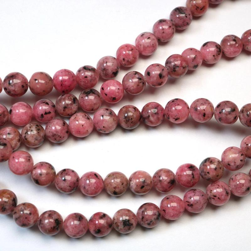Neon Pink Round Natural Wood Beads 20mm Large Hole 16 Inch Strand