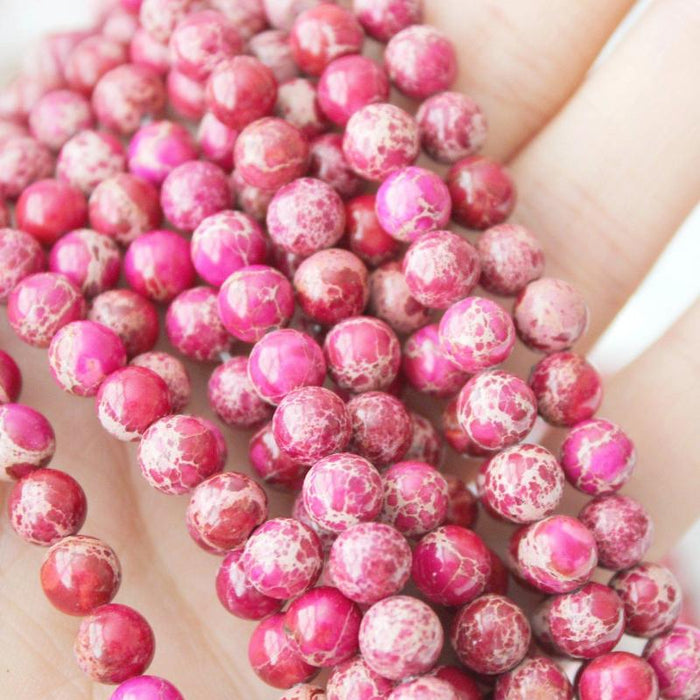 pink impression jasper, 8mm, round, glossy, 1 strand, 16 inches, approx. 48 beads.-Gemstone Beads-BeadsVenture