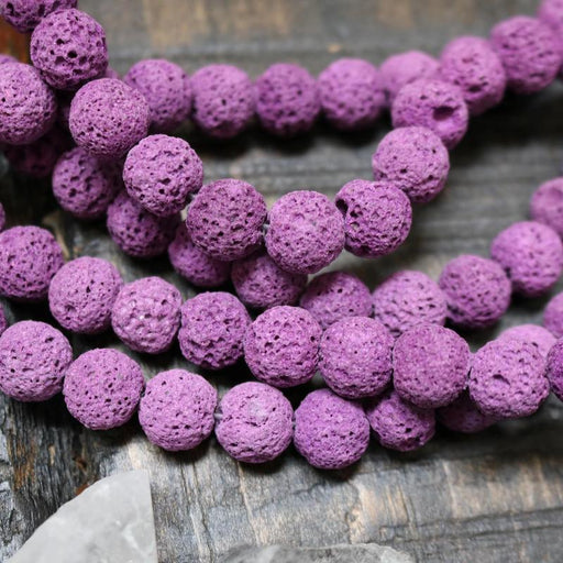 pink lava, 10mm, round, raw, 1 strand, 16 inches, approx. 40 beads.-Gemstone Beads-BeadsVenture