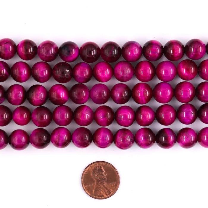 pink tiger eye, 10mm, round, glossy, 1 strand, 16 inches, approx. 40 beads.-Gemstone Beads-BeadsVenture