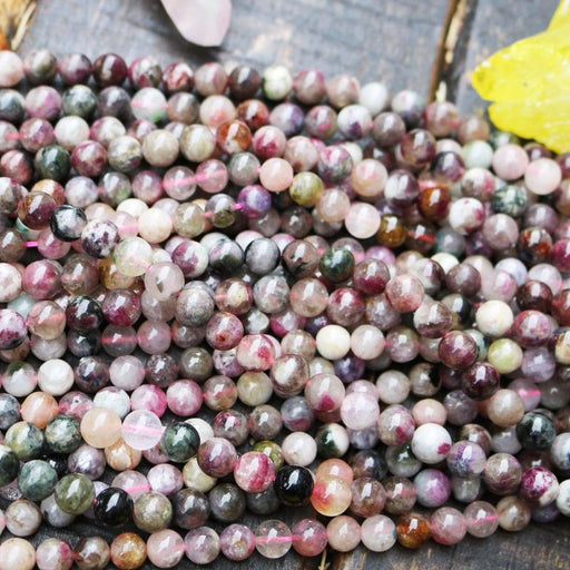 pink tourmaline, 7mm-8mm, round, glossy, 1 strand, 16 inches, approx. 48 beads.-Gemstone Beads-BeadsVenture