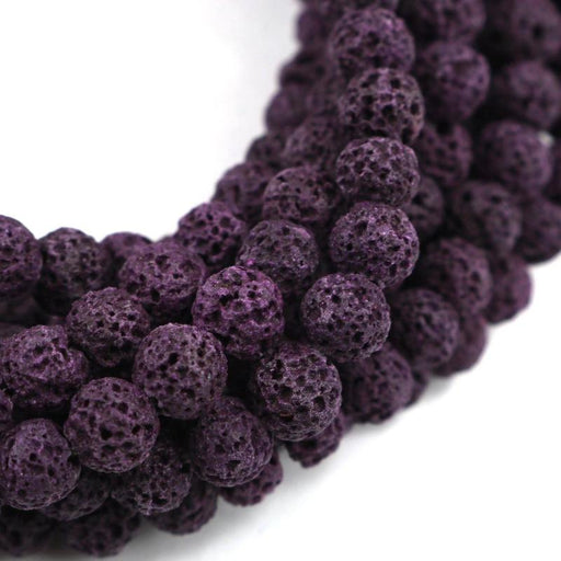plum purple lava, 6mm, round, rough, 1 strand, 16 inches, approx. 66 beads.-Gemstone Beads-BeadsVenture