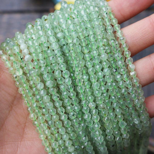 prehnite, 3mm, round, faceted, 1 strand, 16 inches, approx. 110 beads.-Gemstone Beads-BeadsVenture