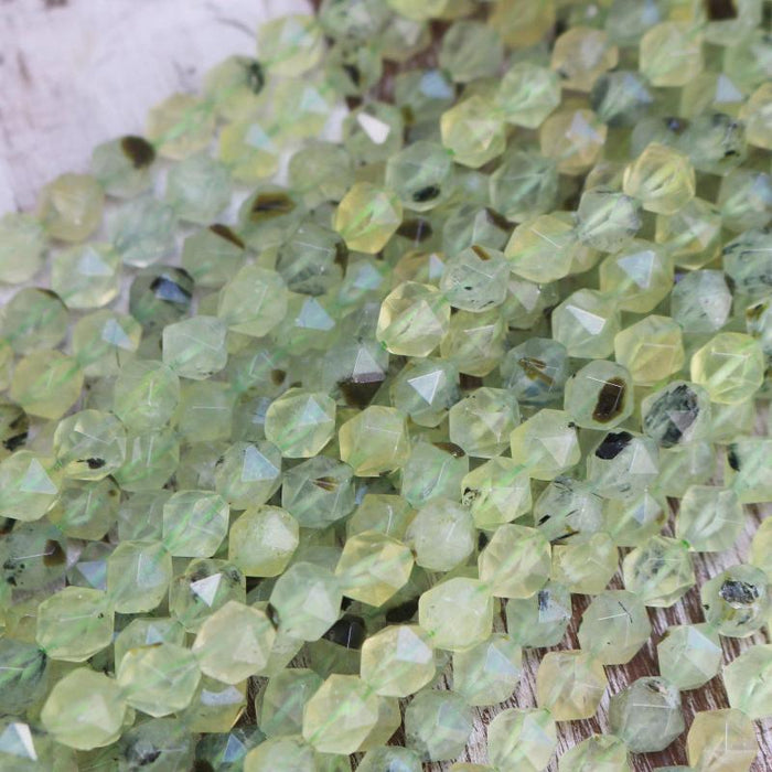 prehnite, 7mm x 8mm, diamond, faceted, 1 strand, 16 inches, approx. 48 beads.-Gemstone Beads-BeadsVenture