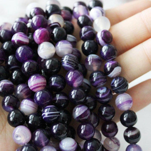 purple banded agate, 8mm, round, glossy, 1 strand, 16 inches, approx. 48 beads.-Gemstone Beads-BeadsVenture