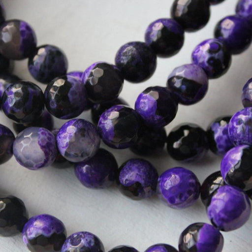 purple black fire agate, 8mm, round, faceted, 1 strand, 16 inches, approx. 48 beads.-Gemstone Beads-BeadsVenture
