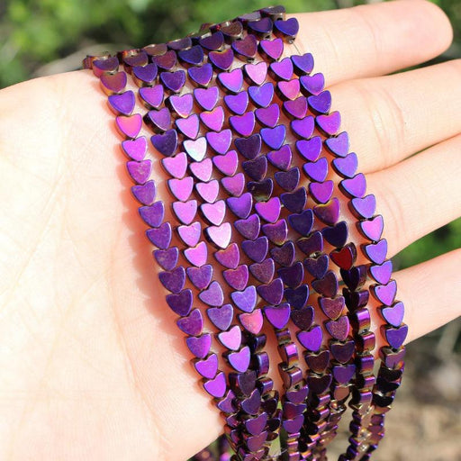purple hematite, 4mm, heart, glossy, 1 strand, 16 inches, approx. 80 beads.-Gemstone Beads-BeadsVenture