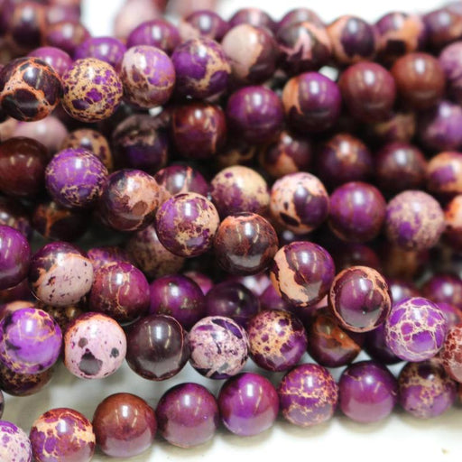 purple impression jasper, 12mm, round, glossy, 1 strand, 16 inches, approx. 32 beads.-Gemstone Beads-BeadsVenture