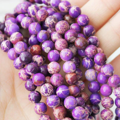 purple impression jasper, 6mm, round, glossy, 1 strand, 16 inches, approx. 66 beads.-Gemstone Beads-BeadsVenture