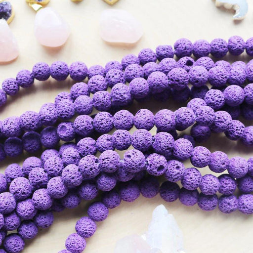 purple lava, 10mm, round, rough, 1 strand, 16 inches, approx. 40 beads.-Gemstone Beads-BeadsVenture