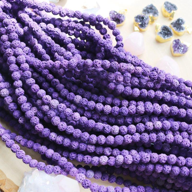 purple lava, 6mm, round, rough, 1 strand, 16 inches, approx. 66 beads.-Gemstone Beads-BeadsVenture