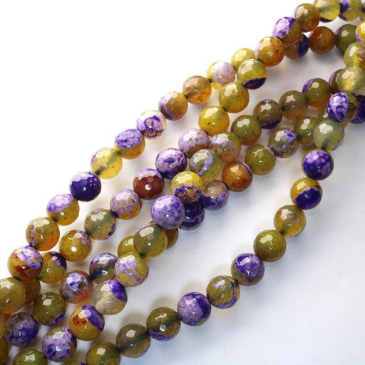 purple yellow fire agate, 10mm, round, faceted, 1 strand, 16 inches, approx. 40 beads.-Gemstone Beads-BeadsVenture