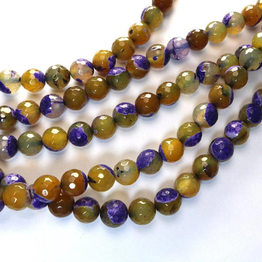 purple yellow fire agate, 12mm, round, faceted, 1 strand, 16 inches, approx. 34 beads.-Gemstone Beads-BeadsVenture