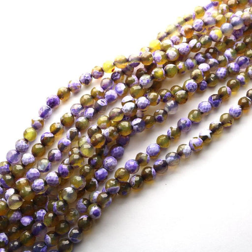 purple yellow fire agate, 6mm, round, faceted, 1 strand, 16 inches, approx. 48 beads.-Gemstone Beads-BeadsVenture