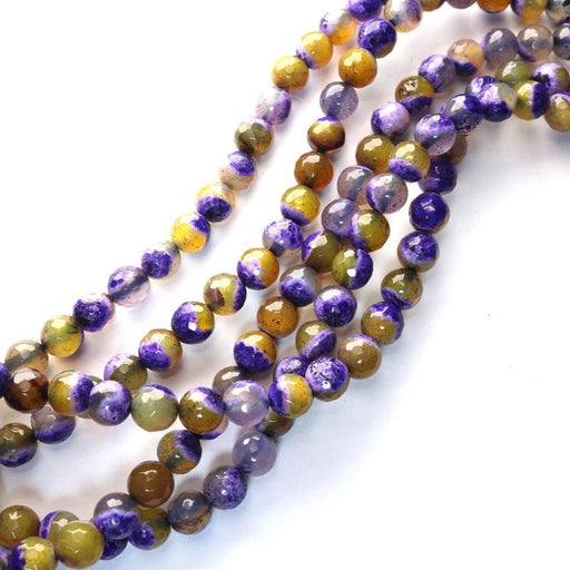 purple yellow fire agate, 8mm, round, faceted, 1 strand, 16 inches, approx. 48 beads.-Gemstone Beads-BeadsVenture