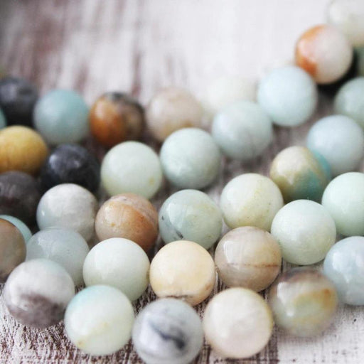 rainbow amazonite, 10mm, round, glossy, multi, sold as 1 strand, approx. 40 pieces.-Gemstone Beads-BeadsVenture