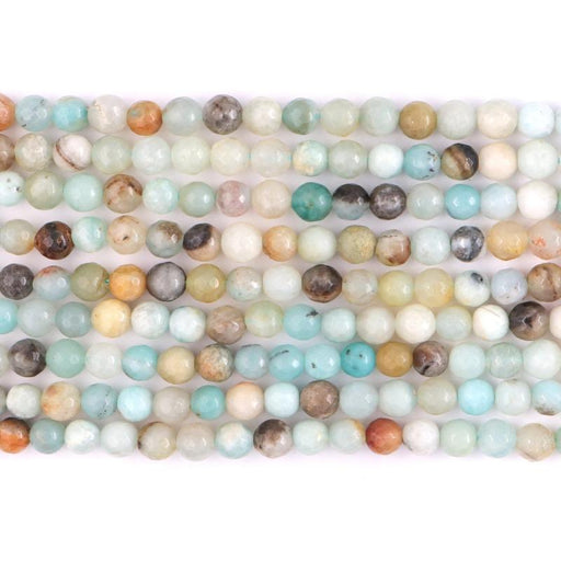 rainbow amazonite, 6mm, round, faceted, 1 strand, 16 inches, approx. 66 beads.-Gemstone Beads-BeadsVenture