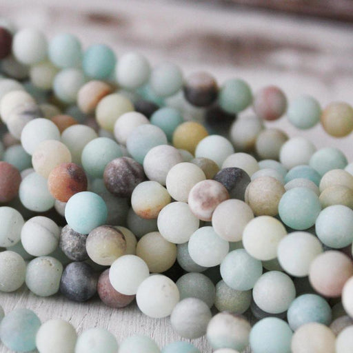 rainbow amazonite, 6mm, round, matte, 1 strand, 16 inches, approx. 66 beads.-Gemstone Beads-BeadsVenture