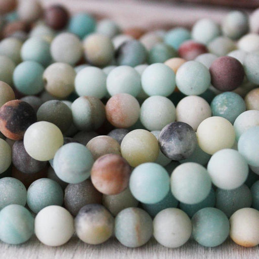 rainbow amazonite, 8mm, round, matte, 1 strand, 16 inches, approx. 40 beads.-Gemstone Beads-BeadsVenture