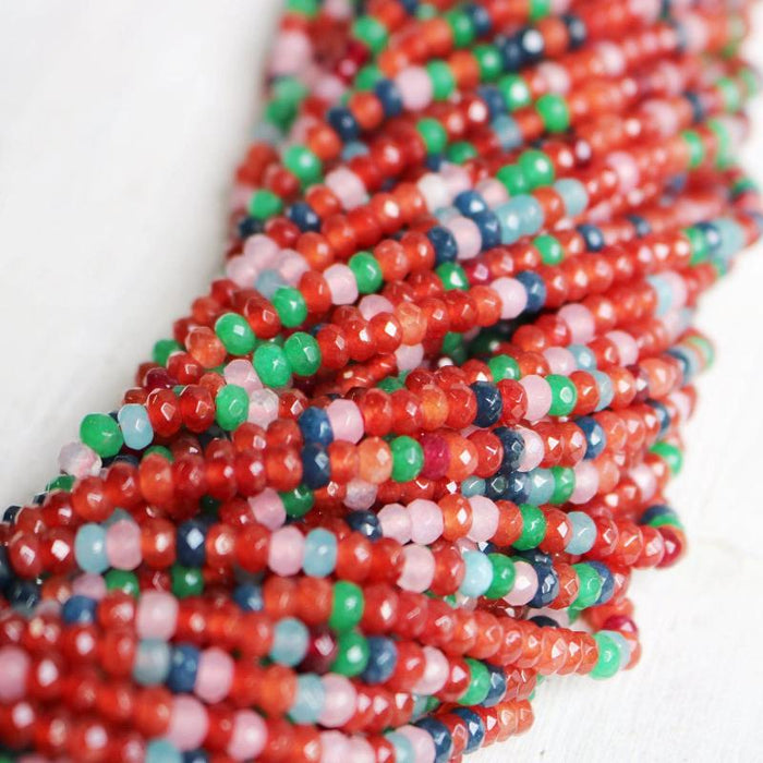rainbow jade, approx. 4mm x 2mm, rondelle, faceted, 1 strand, 16 inches, approx. 110 beads.-Gemstone Beads-BeadsVenture