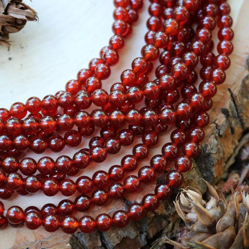 red carnelian, 6mm, round, glossy, 1 strand, 16 inches, approx. 66 beads.-Gemstone Beads-BeadsVenture