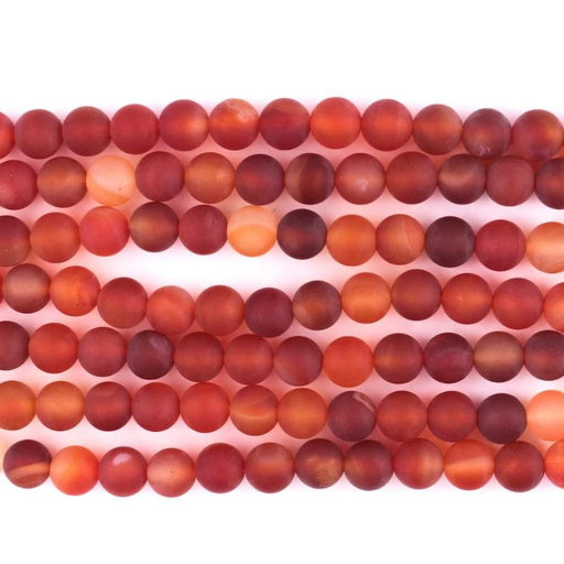 red carnelian, 8mm, round, matte, 1 strand, 16 inches, approx. 48 beads.-Gemstone Beads-BeadsVenture
