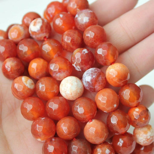 red fire agate, 10mm, round, faceted, red, sold as 1 strand, approx. 40 pieces.-Gemstone Beads-BeadsVenture