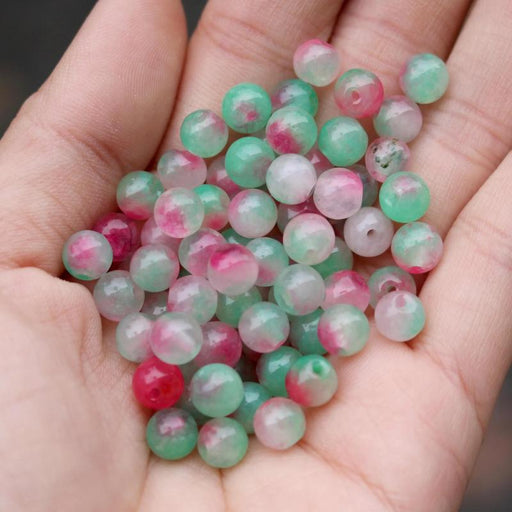 red green jade, 6mm, round, glossy, 1 bag, 16 inches, approx. 66 beads.-Gemstone Beads-BeadsVenture
