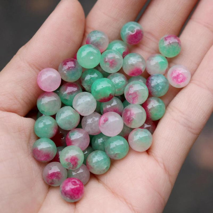 red green jade, 8mm, round, glossy, 1 bag, 16 inches, approx. 48 beads.-Gemstone Beads-BeadsVenture