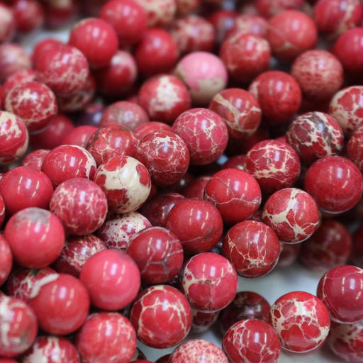 red impression jasper, 10mm, round, glossy, 1 strand, 16 inches, approx. 40 beads.-Gemstone Beads-BeadsVenture